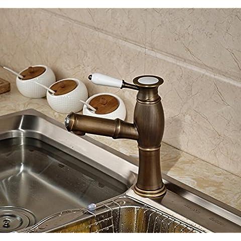 Fx@ Korah ottone antico nuova estensione presa rubinetto singolo gestire da appoggio lavabo Miscelatore da cucina