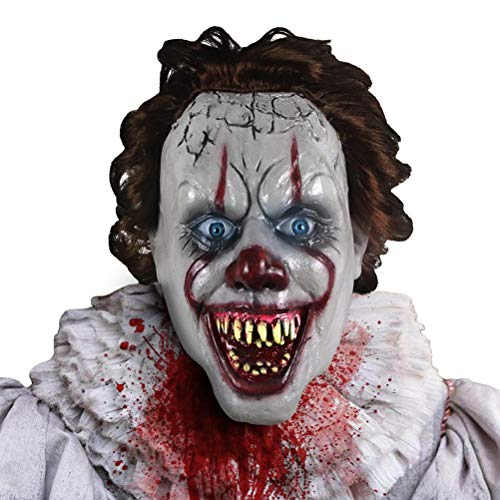 EqWong Halloween Horror Maske, Horror Overhead Clown Maske Halloween Kostüm Party Maske Gruselig beängstigend dekorative Requisiten für Maskerade Party Kostüm Requisiten Party - Home Made Clown Kostüm