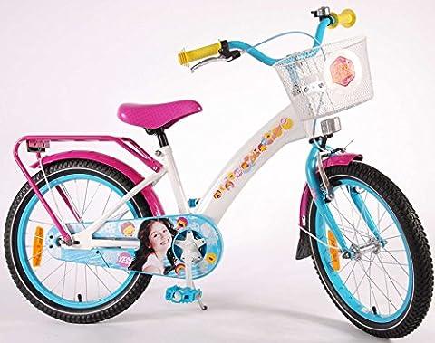 Vélo Enfant Fille Disney Soy Luna 18 Pouces Frein Avant et Arriére à Rétropédalage Panier Blanc Bleu Rose 95% Assemblé