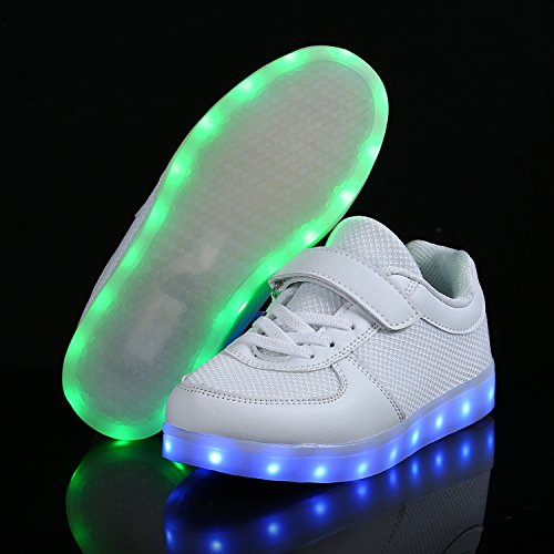 SGoodshoes Enfants Garçons Filles LED Lumineux Clignotante Baskets Chaussures Sneakers Chaussures USB Rechargeable Blanc 1