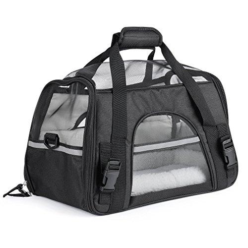 ICOCO Transporttasche Hundebox für Den Transport von Hund & Katze im Flugzeug, Auto Oder in der Bahn mit Weicher Polstereinlage für Eine entspanntere Reise mit Kleintieren 48x25x25cm