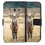 Samsung Galaxy Xcover 3 Tasche Leder Flip Case Hülle Deer Hirsch Forest