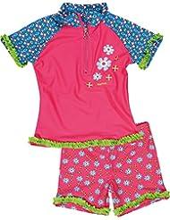 Playshoes Mädchen 2-teiliges UV Schutz Badeset Blumen, bestehend aus Badeshirt und Allover Badeshorts