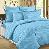 #7: 300 TC Duvet Cover - Double Size - Premium Cotton - Striped Duvet / Quilt / Comforter cover with zipper by Ahmedabad Cotton - 90 x 100 inches - Sky Blue