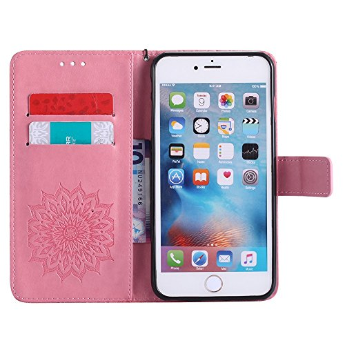 Pour Apple IPhone 6 et 6s Plus Case, Embossing Sunflower Magnetic Pattern Premium Soft PU Leather Wallet Stand Case Cover Avec Lanyard & Holder & Card Slots ( Color : Brown ) Pink