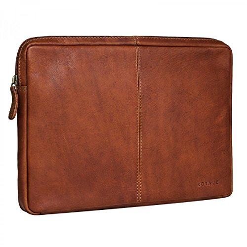 ROYALZ Tasche für Lenovo Yoga A12 Ledertasche (12,2 Zoll) Lederhülle Hülle Schutztasche Schutzhülle Cover Sleeve Mappe Folio Retro Vintage Leder, Farbe:Cognac Braun