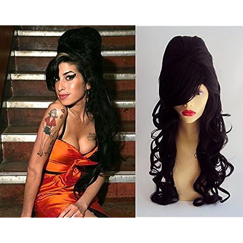 De Lujo Amy Winehouse Peluca Larga Negro Rizado Colmena