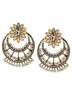 Bindhani Traditional Faux Pearl Big Chandbali Earrings For Women (Chand Bali)