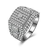 AmDxD Schmuck 925 Silber Damen Heiratsantrag Ring Weiß Rund Cubic Zirkonia Braut Eheringe Gr.61 (19.4)