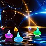 Itian Satz von 12 schwimmende LED Kerzen, Bunte Ändern Mood Lights, Wasserdicht und Flammenlos, für Hochzeit Weihnachtsfest Dekoration