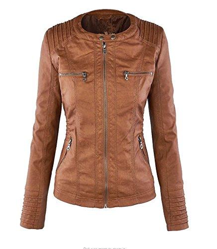 Damen Herbst PU KunstLederjacke mit Reißverschluss Übergangsjacke Motorradjacke Kurz Kapuzenmäntel Bikerjacke Lederjacke Kapuzenjacke Oversize Jacke Hoodie Coat Outerwear - 4