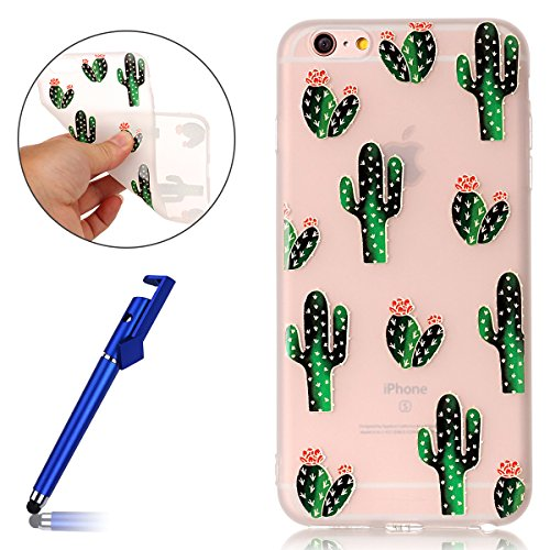 Cover per iPhone 6S plus 5.5, Custodia iphone 6 plus, iphone 6S plus Custodia Silicone, MoreChioce Moda Funny Cute Fiore Animal Painting Colorato Custodia, Ultra Slim 3d Gel Soft Silicone Gomma Morbid Cactus