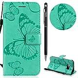 Galaxy S6 Edge Hülle,Galaxy S6 Edge Leder Handyhülle,WIWJ Wallet Case[3D-gedrucktes Schmetterlings Handy Case]Schutzhüllen für Samsung Galaxy S6 Edge-Grün