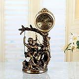 European-Style Retro-Stil Figur Uhr Sprung-Sekunden Stille Bewegung der Sonnenuhr Harz Pendeluhr Stockuhr