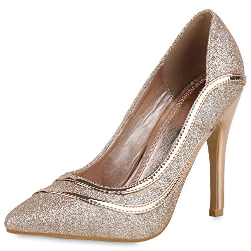 SCARPE VITA Damen Spitze Pumps Glitzer Stiletto High Heels Party Abendschuhe 169224 Rose Gold 36