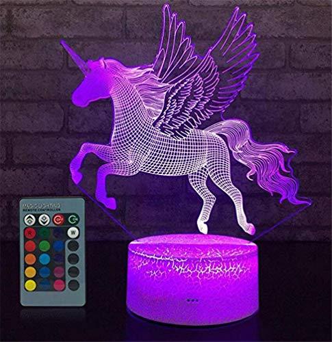 Veilleuse 3D licorne rechargeable USB enfant fille garcon lampe de chevet led Optique Illusion 7 couleurs lumiere de nuit avec Télécommande pour deco chambre table maison Noël Cadeaux anniversaire