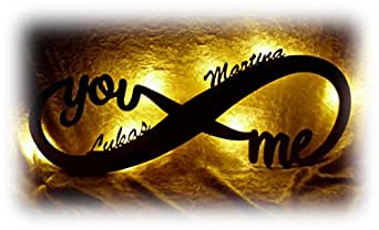 Schlummerlicht24 Veilleuse « Amour infini», cadeau avec nom personnalisé pour la personne que vous aimez, une jolie preuve d'amour à offrir pour un anniversaire, en bois, fait main