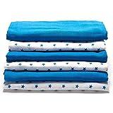 Lovjoy  Mullwindeln / Spucktücher / Stoffwindeln - 6er Pack, 70x70 cm | Premium Qualität - doppelt gewebt, verstärkte Umrandung | 100% Bio Baumwolle | Stoffwindeln  &  Mulltücher fürs Baby |Blau