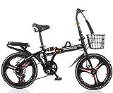 Bicicleta Plegable Adulto Aluminio Bicicleta Unisex Bike Hombres y Mujeres,Black