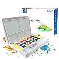 Eachgoo Watercolour Paint Set,24 Colors Travel Pocket Watercolor Kit Includes A Water Brush & 2 Sponges & A Mixing Palette