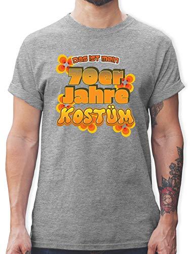 Karneval & Fasching - Das ist Mein 70er Jahre Kostüm - S - Grau meliert - L190 - Herren T-Shirt und Männer Tshirt (70er Jahre Motto Kostüme Ideen)