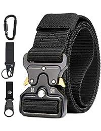 AivaToba Cinturón Táctico para Hombres Cinturón de Seguridad Cobra Militar Resistente de Nylon con Hebilla Metálica de Liberación Rápida para Trabajo Policial Caza Ejército al aire Libre,125cm