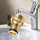 UxradG tubo in ottone per rubinetto, filettatura connettore interfaccia di conversione rame acqua lavatrice rame tubo acqua accessori per giardino da cucina, per interni ed esterni