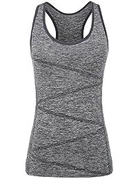 Disbest, top sportivo, senza maniche, da donna, ideale per yoga, con supporto reggiseno, Grey, XL