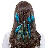 AWAYTR Diadema vintage de plumas indias Boho Hippie Beads Masquerade Fancy Dress accesorios para el cabello para mujeres y niñas