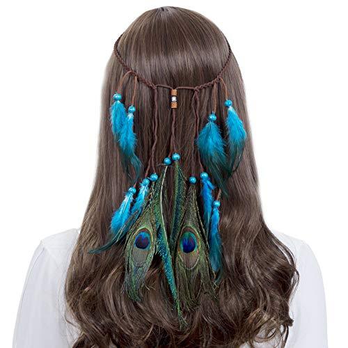 Kostüm Niedliche Kinder Super - AWAYTR Federn Stirnbänder Hippie Boho Holzperlen Niedlich maskerade Karneval Kopfstücke (Blau)
