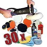 Kingbarney XXXL Profiset - Poliermaschine / Schleifmaschine 1600 Watt Set 4 + Polierschwamm Zubehörset - inkl. Politur - 30 Teile - Auto polieren
