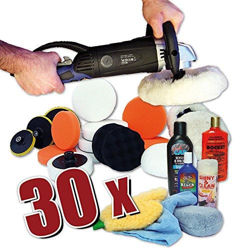 *Kingbarney XXXL Profiset – Poliermaschine / Schleifmaschine 1600 Watt Set 4 + Polierschwamm Zubehörset – inkl. Politur – 30 Teile – Auto polieren*