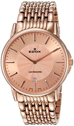 Edox Men's 56001 37RM ROIR Les Bemonts Analog Display Swiss Quartz Rose Gold Watch
