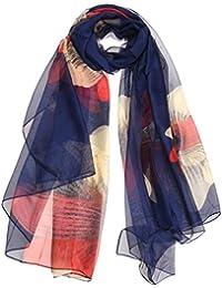Sumolux Echarpes Châle Foulard de Plage en Mousseline de Soie Leger Anti UV Multicolore Imprimé pour Femmes Printemps Eté Automne