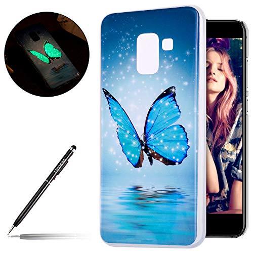 Uposao Kompatibel mit Handyhülle Galaxy A8 2018 Leuchtende Silikonhülle Leuchtet im Dunklen Handyhülle Silikonhülle Schutzhülle Ultra Slim Soft Back Cover Case Bumper,Blau Schmetterling Blau Back Cover
