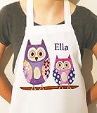 Las niñas personalizado delantales, delantal para niños, personalizable, delantal para niños, diseño de búhos búho, Craft delantal