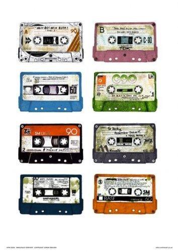 onthewall Póster de la película Analouge for Ever Cassette Tapes Pop Art de Simon Walker (038)