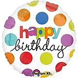 paduTec Ballon Folienballon Heliumballon - Happy Birthday Punkte - Geburtstag - dieser tolle Ballon kommt bereits mit Helium Gas gefüllt zu Ihnen und schwebt