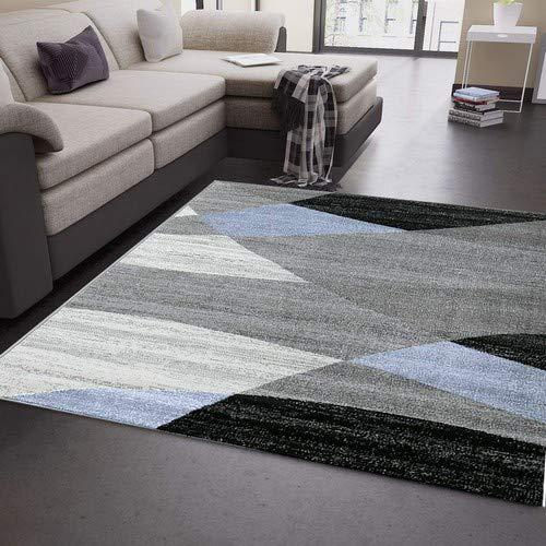 odern Geometrisches Muster Gestreift Meliert in Blau Grau Weiß Schwarz 80x150 cm ()