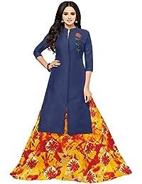 Applecreation Women's Cotton Chanderi Salwar Suits Material (blue_Salwar Suit_21DMK636_Free Size)