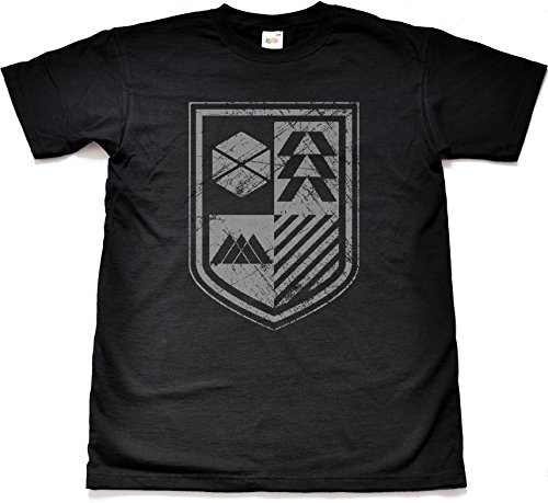 Guardians Shield Distressed Style Black T shirt Extra Large
