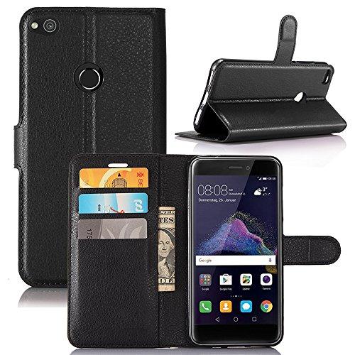 MYLB Portafoglio in pelle PREMIUM PU con Card Slot di caso di stile del libro Cover per Huawei P8 lite 2017 smartphone (Nero)