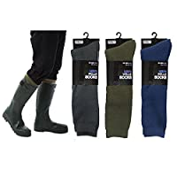 Mens Fleece Wellie Socks Wellington Boot Liners Welly Warmers Warm Dry 7-11