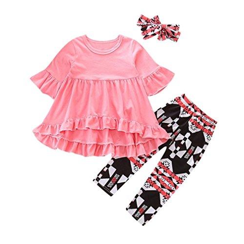 Mädchen Outfits Kleidung set, OverDose Kleinkind Baby Mädchen Schmetterlings Hülsen Blusen Oberteil Tops Kleid + Blumen Hosen 3PCS (Schmetterling Kostüme 2t)