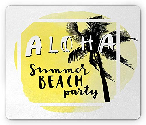 ercolor Summer Beach Party Design Tropical Vacation Palm Tree, Standard Size Rectangle Non-Slip Rubber Mousepad, Pale Yellow Black and White ()
