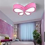 BRIGHTLLT Simple y moda creativa mariposa lámpara de techo moderno infantil, 500 mm princesa sala lámpara Con control remoto [Energieklasse A +++]