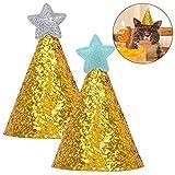 Legendog 2 Pezzi Animale Domestico Cappelli di Compleanno Luccichio Stella Decorazione Cappelli da Festa Costume da Decorazione per Animali Domestici