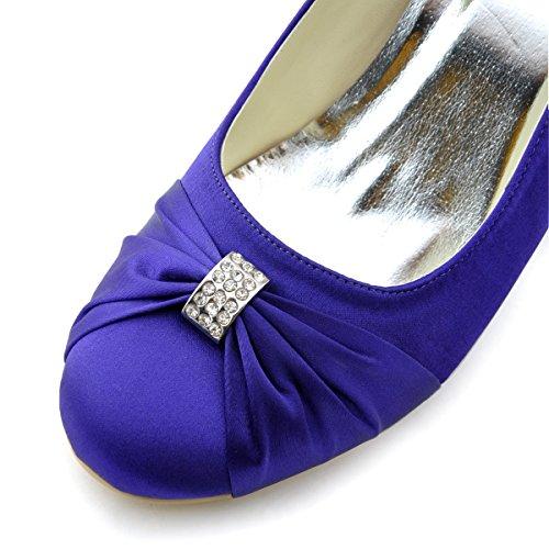 Elegantpark EP2005 bout Rond Crinkling Satin Boucle Coin Bas Femmes Chaussures de Mariee Violet