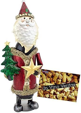 BRUBAKER Bottle Holder 'Santa Claus' Hand-painted Metal Sculpture - including Greeting Card!