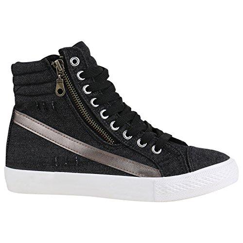 Stiefelparadies Damen Schuhe High Top Sneakers Sportschuhe Kult Schnürer 156900 Schwarz Zipper 36 Flandell